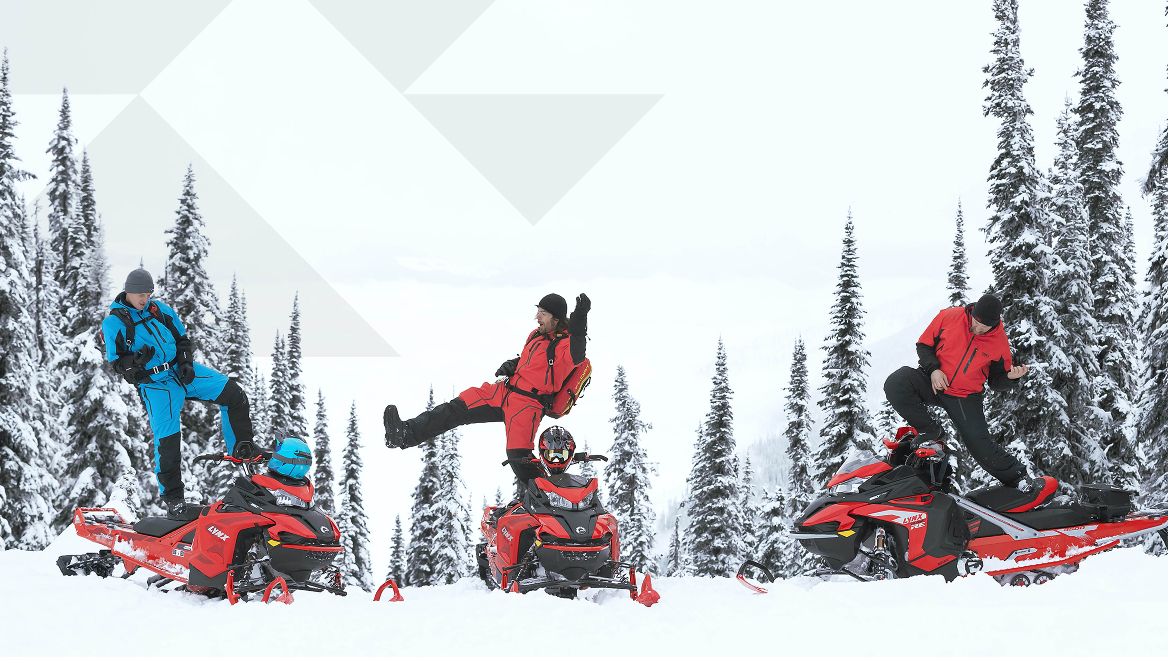 3 Man dancing on their 2022 Lynx snowmobile