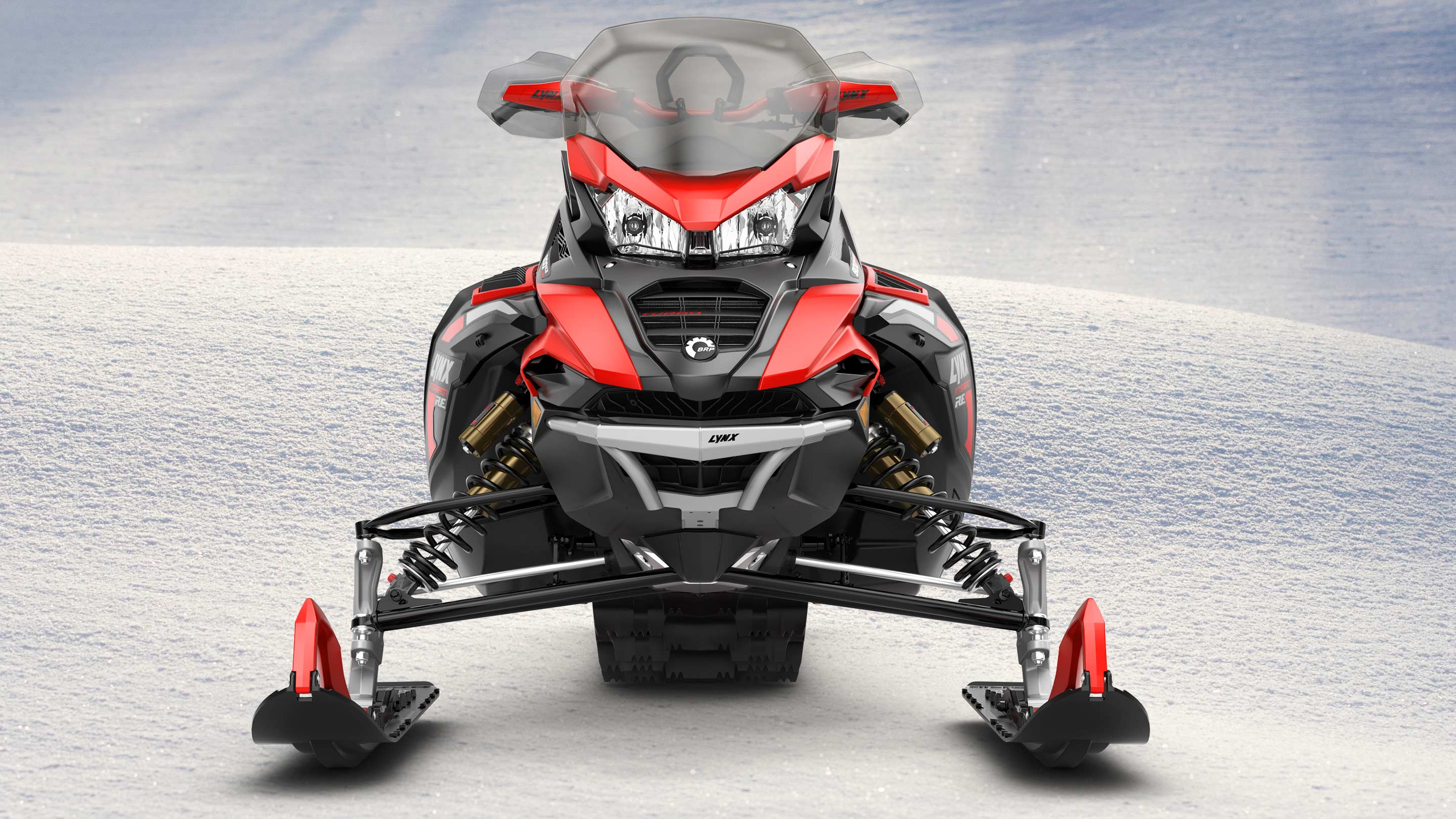 Front view of Lynx Xterrain RE snowmobile